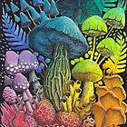 Rainbow Mushroom Composition #3 | Watercolor Painting by Stephanie KILGAST