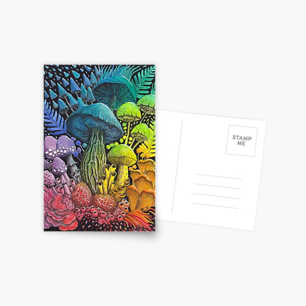 Rainbow Mushroom Composition #3   Watercolor Painting Postcard
