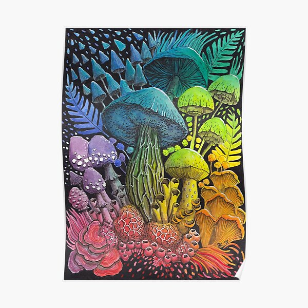 Rainbow Mushroom Composition #3 | Watercolor Painting Poster