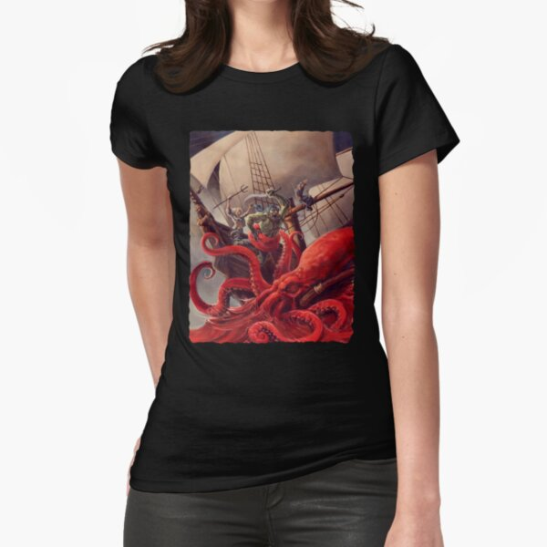 Scarred Lands Cover Art: Blood Sea: The Crimson Abyss Fitted T-Shirt