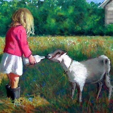 Girl Feeding Her Goat, Oil Pastel, Farm Life, Animal by Joyce