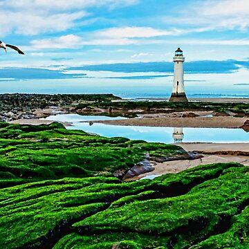 Fort Perch Rock Lighthouse, New Brighton, Wirral, UK, Artistic interpretation. by Retiree