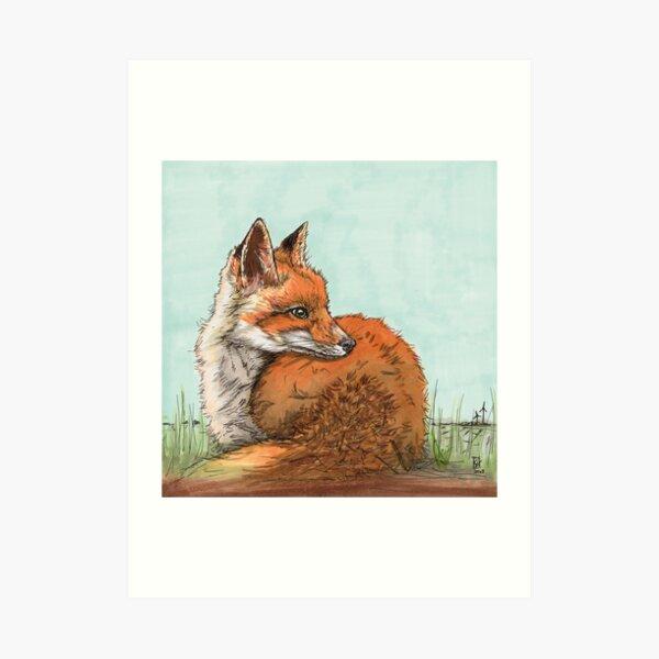 Fuchs auf Lichtung Kunstdruck