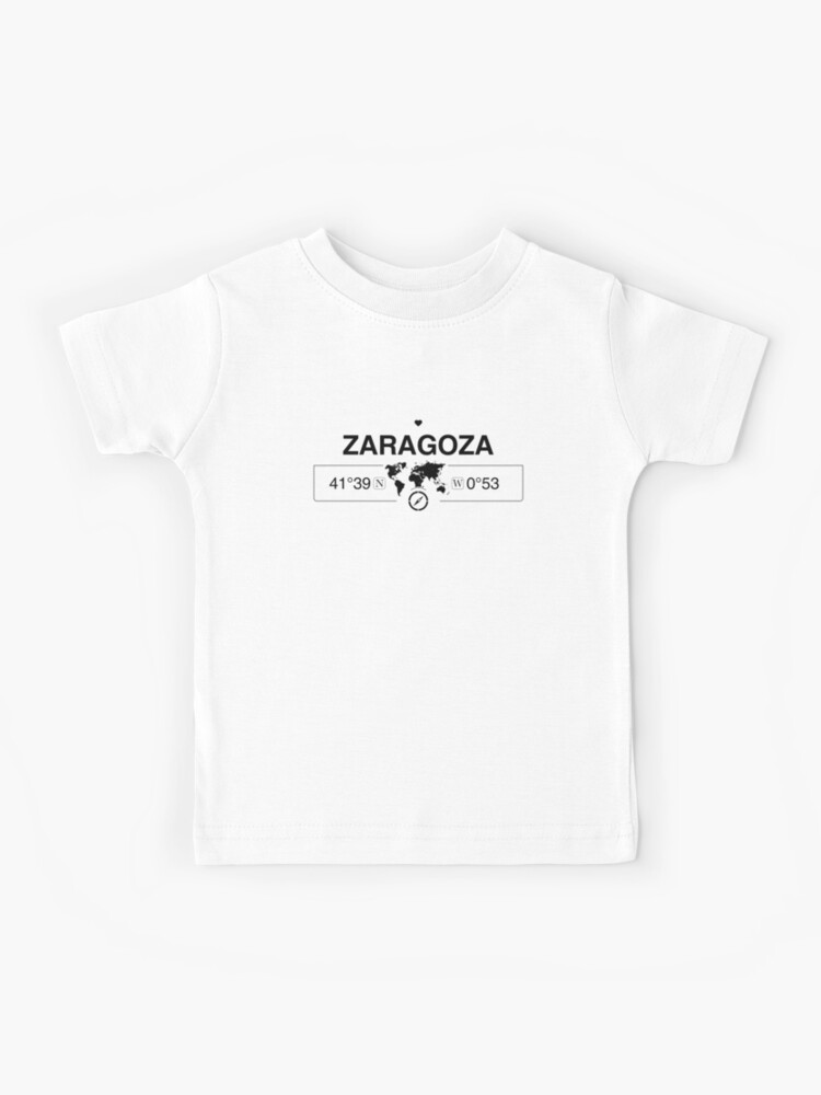 Zaragoza Aragon with World Map GPS Coordinates and Compass | Kids T-Shirt