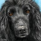 A Painting of a Black Cocker Spaniel with Honey Eyes by ibadishi