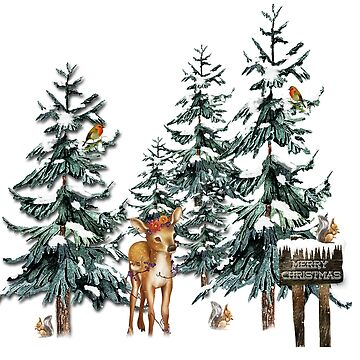 Christmas Winter Forest Deer by longdistgramma