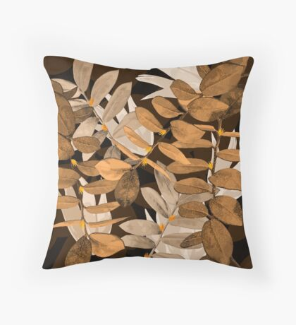 Midnight Leaf Gold Throw Pillow