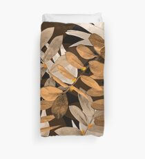 Midnight Leaf Gold Duvet Cover