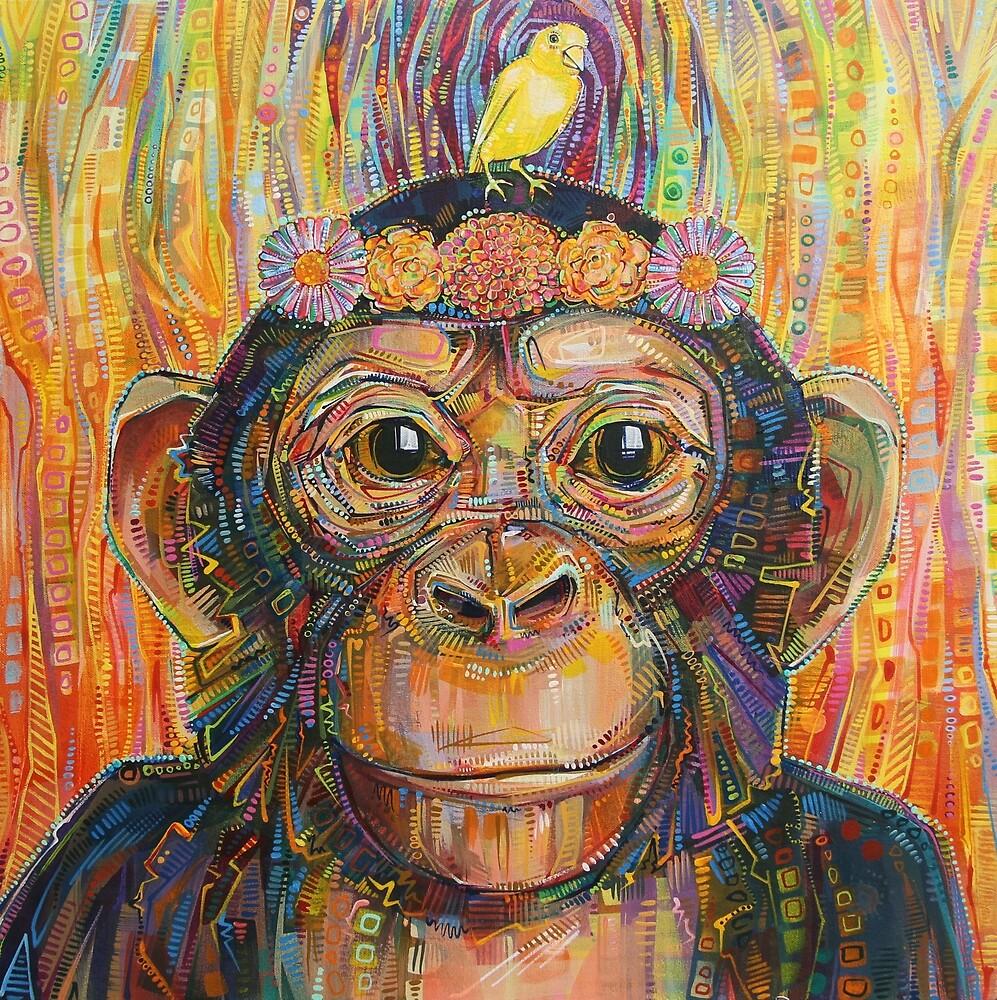 Chimpanzee and Canary Painting - 2016 by Gwenn Seemel