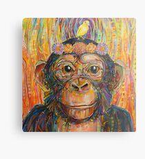 Intuition (der Schimpanse und der Kanarienvogel) Malerei - 2016 Metallbild