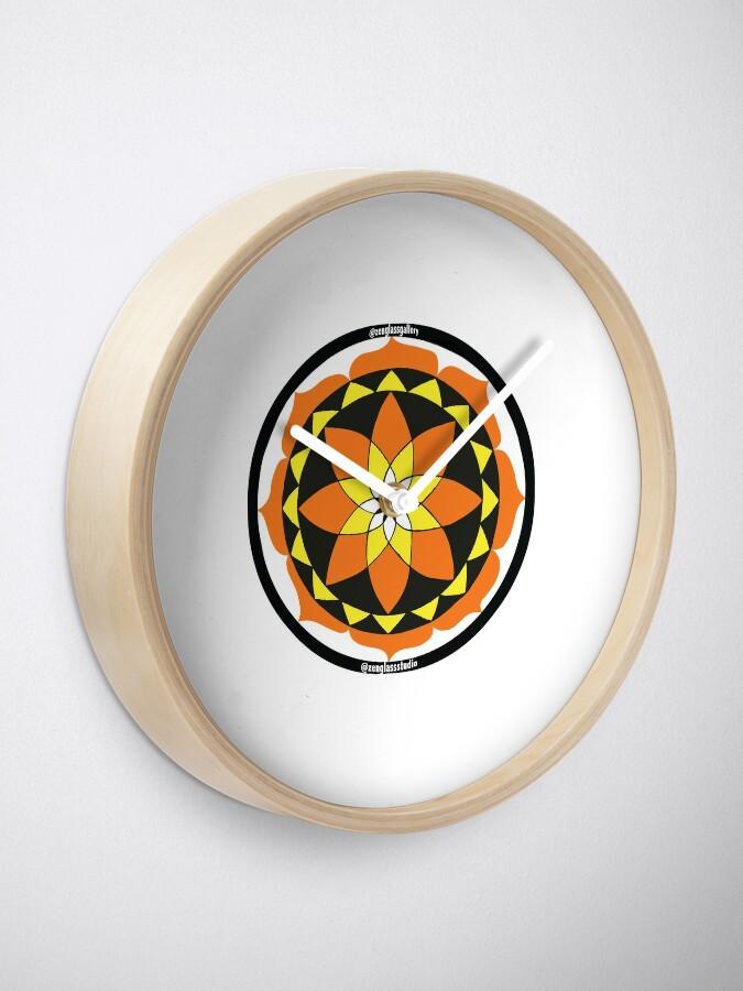 Alternate view of Zen Glass Fire Mandala Clock