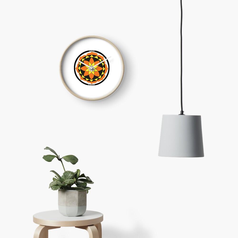 Zen Glass Fire Mandala Clock