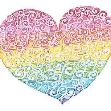 Rainbow swirl heart drawing - 2016 by gwennpaints