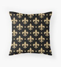 Fleur de Lis in Black and Gold WHODAT! Throw Pillow