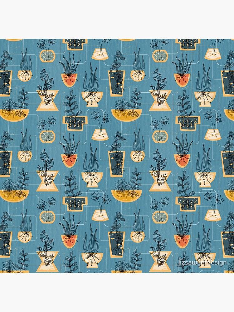 1950s Houseplants- Blue by lizsawyerdesign