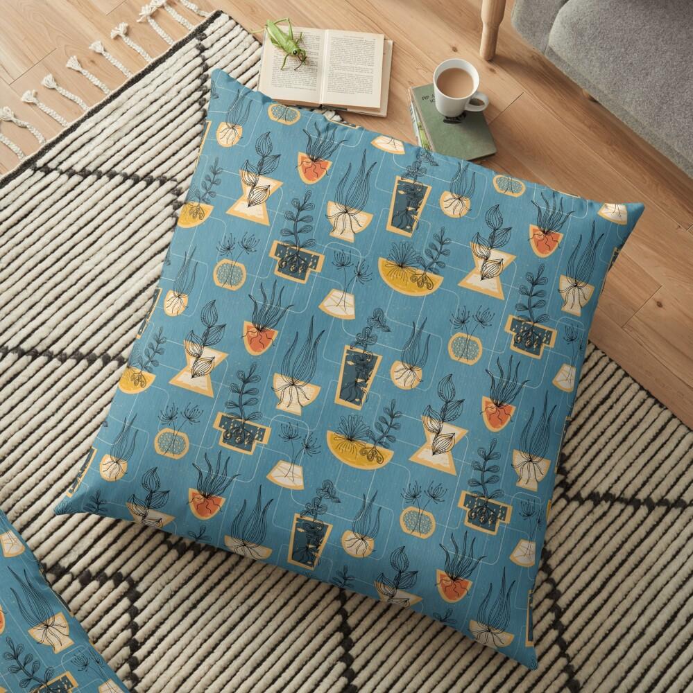 1950s Houseplants- Blue Floor Pillow