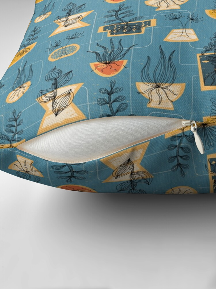Alternate view of 1950s Houseplants- Blue Floor Pillow