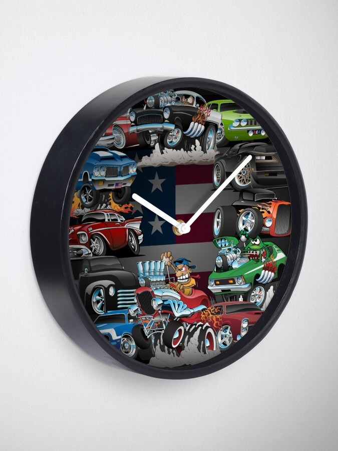 Alternate view of Car Madness!  Muscle Cars and Hot Rods Cartoon Clock