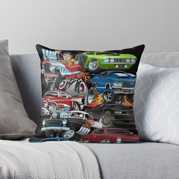 Car Madness!  Muscle Cars and Hot Rods Cartoon Throw Pillow
