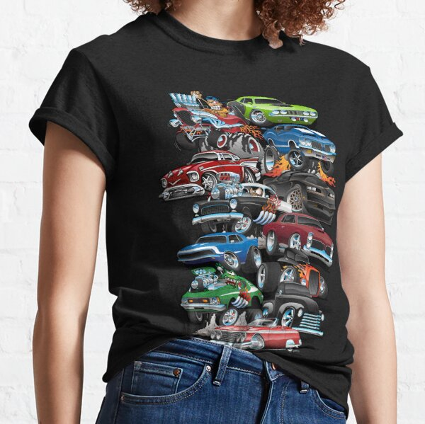 Autoverrücktheit! Muscle Cars und Hot Rods Cartoon Classic T-Shirt