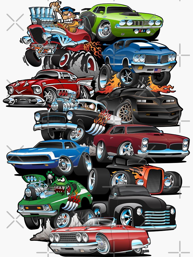 Car Madness!  Muscle Cars and Hot Rods Cartoon by hobrath