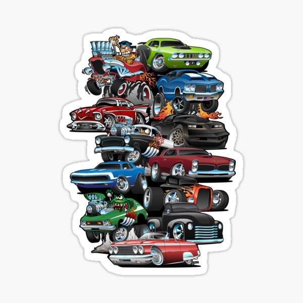 Car Madness!  Muscle Cars and Hot Rods Cartoon Sticker