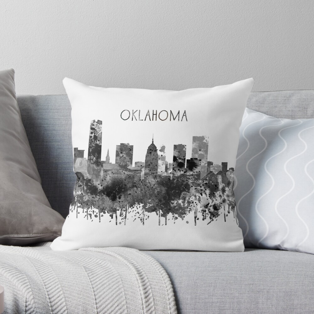 Oklahoma-Skyline, Aquarell Oklahoma Dekokissen
