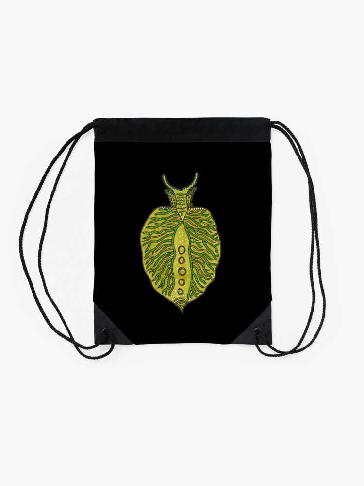 Alternate view of Emerald Green Sea Slug Drawstring Bag