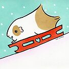 Fluffy Guinea pig on Sleigh Holiday Greeting  by zoel