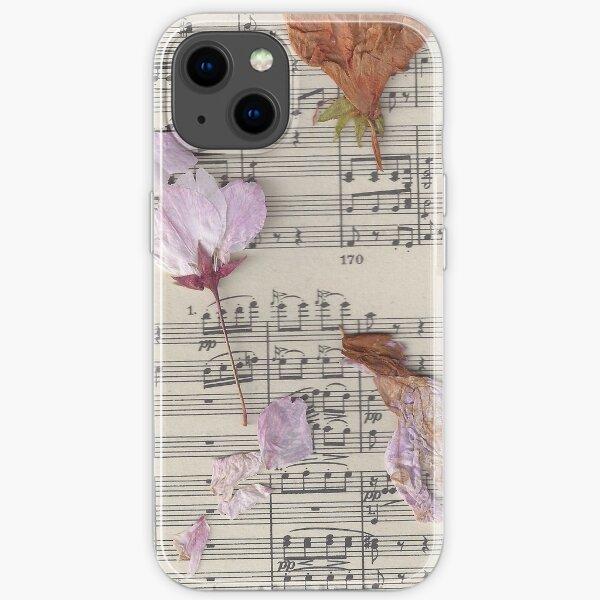Gepresste Blumen und Musiknoten iPhone Flexible Hülle