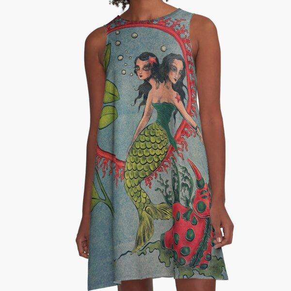 Marine Pastoral A-Line Dress