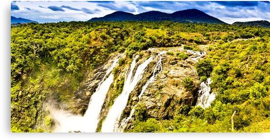 South India - Jog Falls in the monsoon season - 2 by Geoffrey Thomas