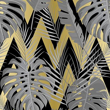 Grey, Black, & Gold Tropical Palm Leaves by adametzb