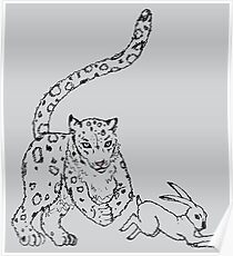 The Chase - Snow Leopard Sketch Poster
