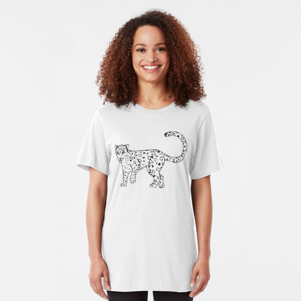 Roaming - Snow Leopard Sketch Slim Fit T-Shirt