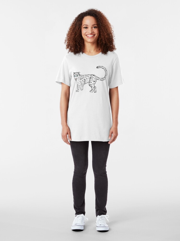 Alternate view of Roaming - Snow Leopard Sketch Slim Fit T-Shirt
