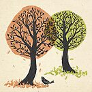 Autumn Is For The Birds Stamped Linocut by BunnyThePainter