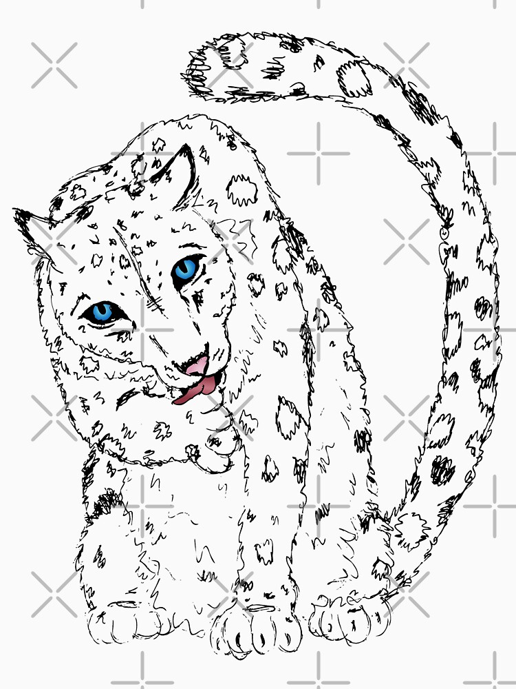 Sitting Pretty - Snow Leopard Sketch by LittleMissTyne