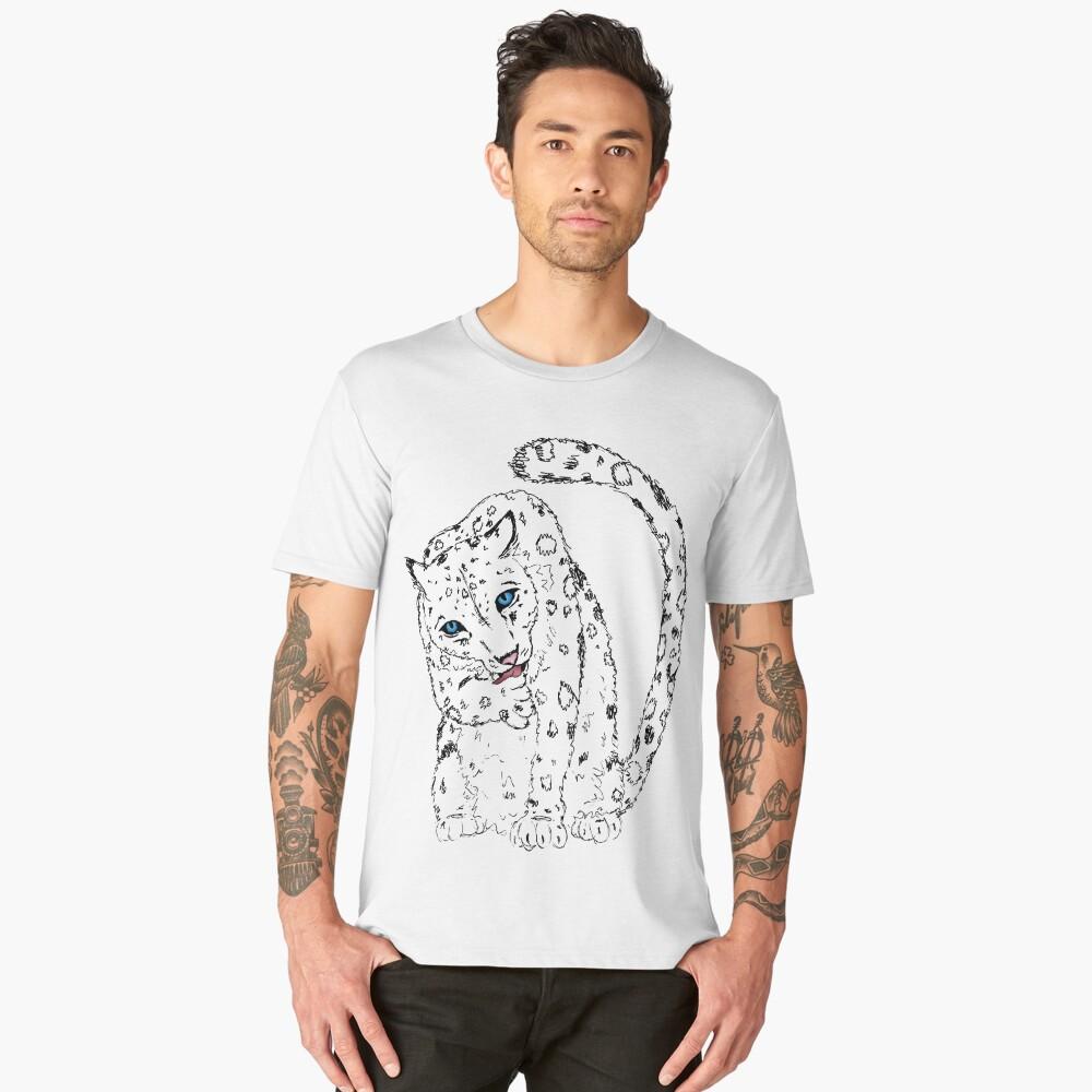 Sitting Pretty - Snow Leopard Sketch Men's Premium T-Shirt Front
