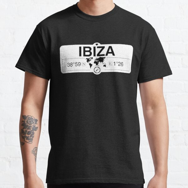 Ibiza Balearic Islands with World Map GPS Coordinates and Compass    Classic T-Shirt