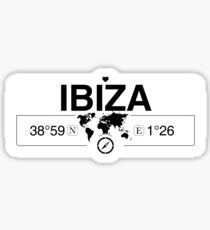Ibiza Balearic Islands with World Map GPS Coordinates and Compass    Sticker