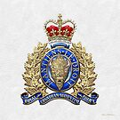 Royal Canadian Mounted Police - RCMP Badge over White Leather by Serge Averbukh