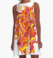 Pixelated Epiphany - Watercolor Painting A-Line Dress