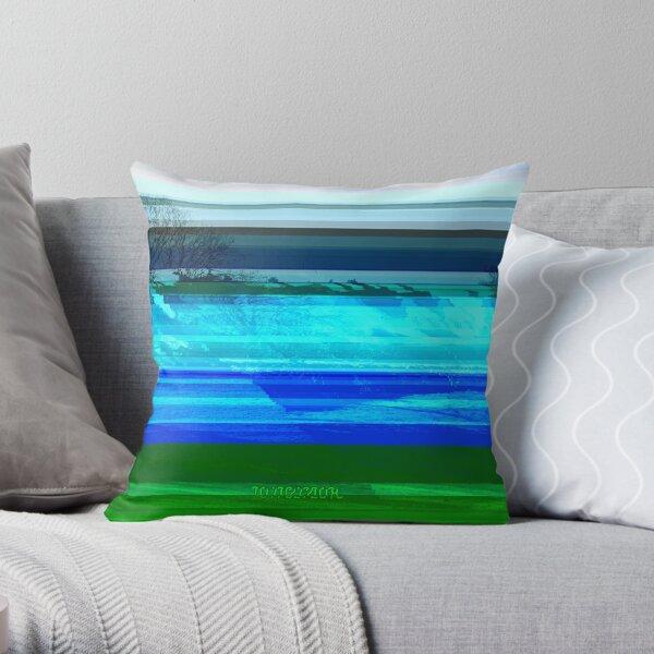 Bright Glitch Field Throw Pillow