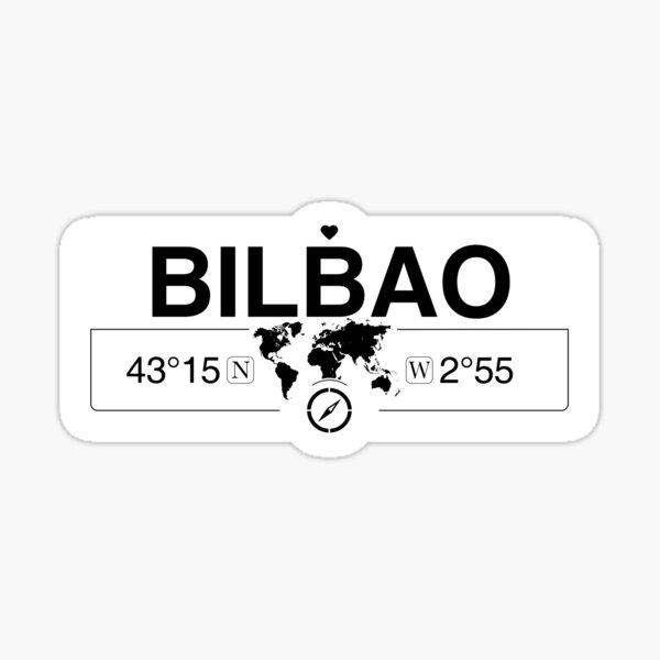 Bilbao Basque Country with World Map GPS Coordinates and Compass   Sticker