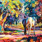 «Caballo y jinete caminando en Country Lane» de Jos Coufreur
