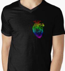 Regenbogen Herz T-Shirt mit V-Ausschnitt für Männer