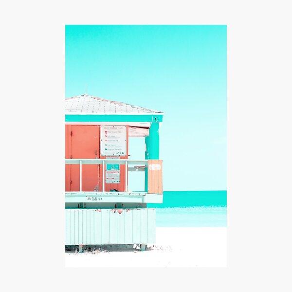 Lifeguard tower on beach  Photographic Print