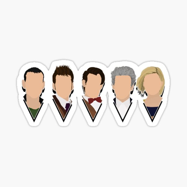 5 Modern Doctors Faces - Including 13th Doctor - Doctor Who Inspired - Series 11 Sticker