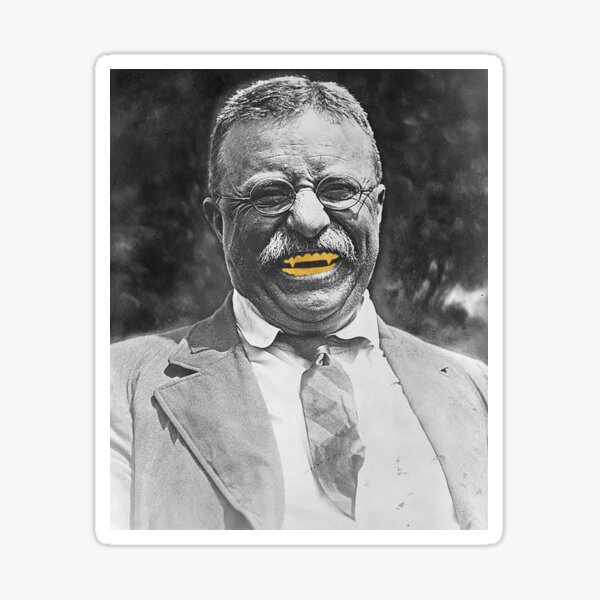 Bull Moose Gold Tooth Theodore Roosevelt Graphic Tee Sticker